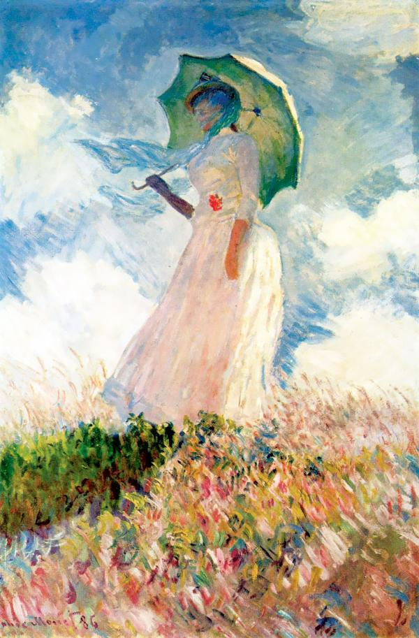日傘の女(Femme à l'ombrelle tournée vers la gauche)左向き:クロード・モネの壁紙/画像素材