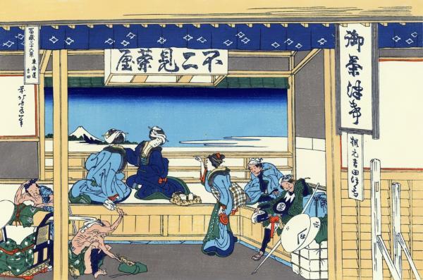東海道吉田(とうかいどうよしだ)-富嶽三十六景:葛飾北斎の壁紙/画像素材