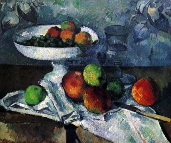 フルーツボウル、ガラス、リンゴ(Fruit Bowl, Glass, and Apples):ポール・セザンヌの壁紙/画像素材