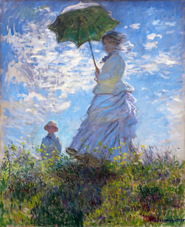 散歩、日傘をさす女(Woman with a Parasol - Madame Monet and Her Son):クロード・モネ
